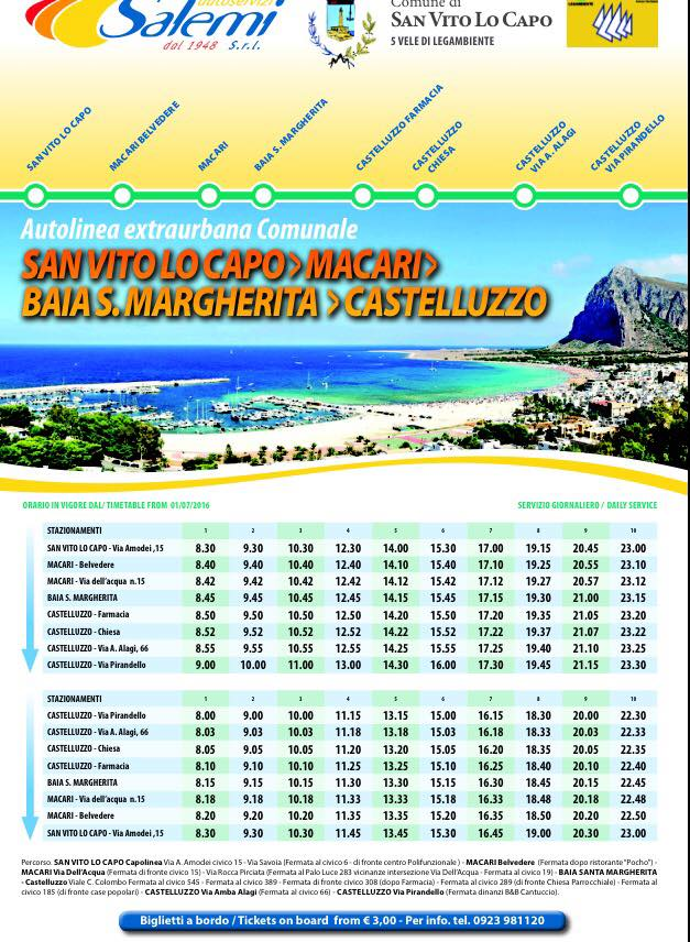 Autobus San Vito Lo Capo - Macari - Castelluzzo - Torre Salina